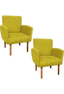Kit 02 Poltronas Decorativa Veronês Para Sala E Recepção Suede Amarelo - D'Rossi
