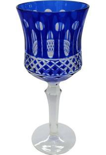 Conjunto De Taças Para Agua Em Vidro Cristalino Lapidado 6 Peças Azul Escuro
