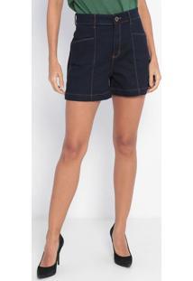 Bermuda Jeans Com Bolsos- Azul Escuro- Ennaenna