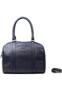 Bolsa Em Couro Recuo Fashion Bag Baú Cetuz Azul