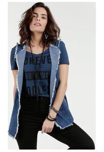 Colete Feminino Jeans Alongado Desfiado Gups