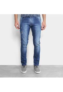 Calça Jeans Skinny Gangster Estonada Rasgos Masculina - Masculino