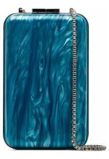 Marzook Clutch Com Efeito Marmorizado - Azul