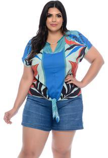 Blusa Plus Size Elegance All Curves Estampada Bleu