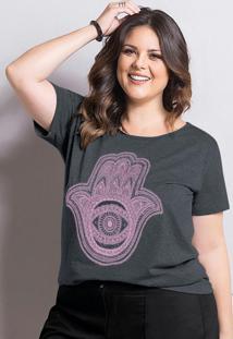 T-Shirt Marguerite Mescla Chumbo Plus Size