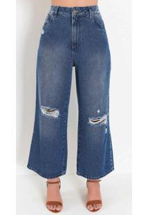 Calça Jeans Pantacourt Com Puídos Sawary
