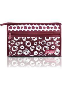 Necessaire Envelope Jacki Design Microfibra - Feminino-Vinho