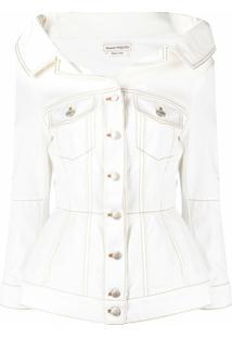 Alexander Mcqueen Spread Collar Buttoned Jacket - Branco