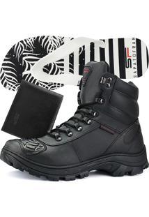 Kit Bota Coturno Militar Fran Boots Chinelo E Carteira Cano Médio Preta