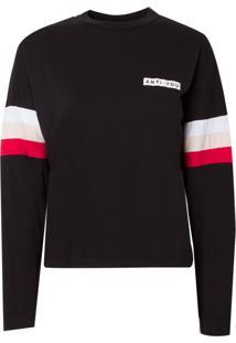 Camiseta Rosa Chá Stripe Malha Preto Feminina (Preto, G)
