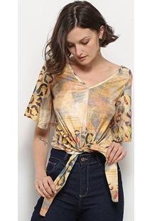 Blusa Mercatto Estampada Amarração Feminina - Feminino-Amarelo