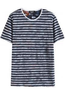 Camiseta Masculina Com Estampa Listrada / Floral - Azul Marinho