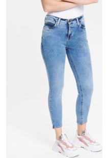 Calça Jeans Feminina Five Pockets Skinny Cintura Média Azul Claro Calvin Klein - 34