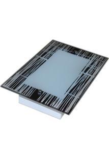 Plafon De Vidro Para 02 Lâmpadas De Embutir No Gesso Riscado
