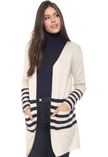 Maxi Cardigan Facinelli By Mooncity Tricot Listras Bege