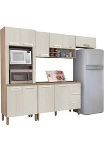 Cozinha Modulada Ametista 5 Módulos Composição 4 Nogal/Arena - Kit'S P