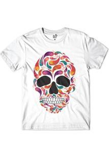 Camiseta Long Beach Caveira Gotas Sublimada Masculina - Masculino-Branco