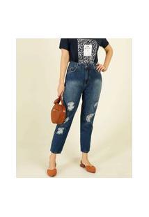 Calça Mom Jeans Destroyed Feminina Cintura Alta