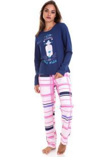 Pijama Longo De Frio Motocicleta Feminino Em Algodão Luna Cuore