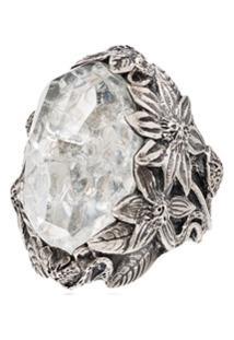 Lyly Erlandsson Anel Grande Com Cristal - Silver