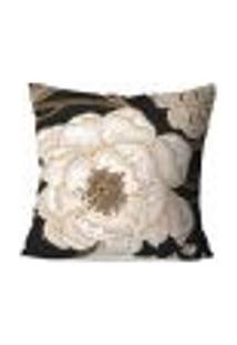 Capa De Almofada Avulsa Decorativa Rosa Branca 45X45Cm