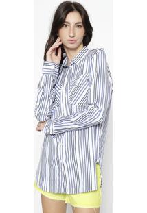 Camisa Listrada Com Bolsos - Branca & Azulcalvin Klein