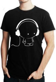 Camiseta Criativa Urbana Fone Cartoon - Masculino