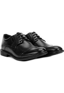 Sapato Casual Couro Ferracini Bolonha Recorte Bico Masculino - Masculino-Preto