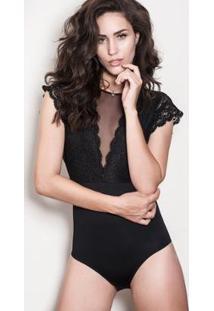 Body Duloren Elegance Decote Tule - Feminino-Preto