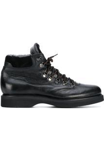 Baldinini Ankle Boot De Couro Com Cadarço - Preto