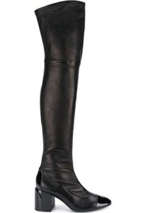 Casadei Bota Over The Knee Com Contraste - Preto