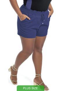 Shorts Em Moletom Com Bolsos Azul