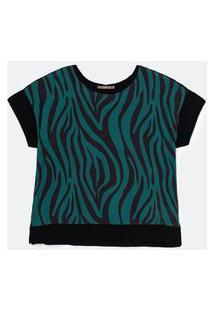 Blusa Com Frente Em Tecido Plano Estampado Curve E Plus Size Verde