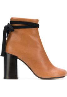 Mm6 Maison Margiela Ankle Boot De Couro Com Laço - Marrom