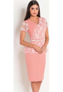 Vestido Com Renda Rosa Moda Evangélica