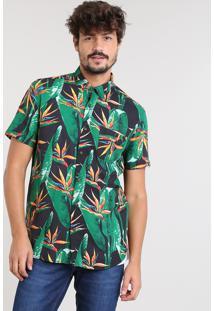 Camisa Masculina Estampada De Folhagem Com Bolso Manga Curta Preta