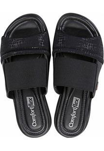 Chinelo Comfortflex Slide Flat Elástico Feminino - Feminino-Preto+Dourado