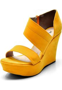 Sandália Anabela Salto Alto Em Nobucado Amarelo