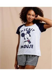 Pijama Feminino Mickey Manga Curta Disney - Feminino-Cinza