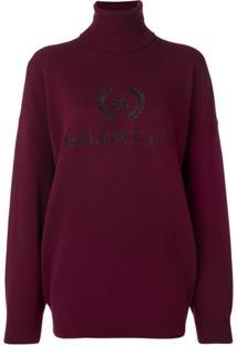 Balenciaga Suéter Com Logo Bordado - Vermelho