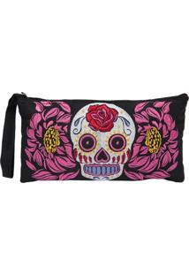 Bolsa Carteira/Clutch Skull Menina Sereia Multicolorida Único