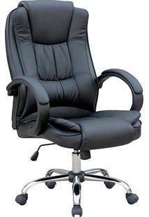 Cadeira Presidente Mb-C730 Giratória Base Cromada Preto - Travel Max