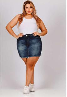 Mini Saia Desfiada Almaria Plus Size Fact Jeans Az