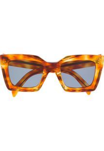 Celine Eyewear Óculos De Sol Com Efeito Tartaruga - Marrom