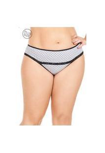 Calcinha De Cotton Plus Size Mondress Cinza