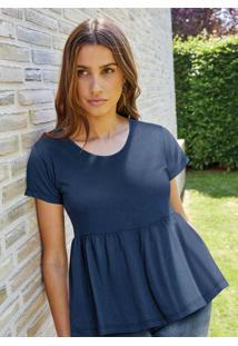Blusa Decote Redondo Azul Marinho