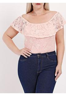 Body Plus Size Feminino Autentique Rosa