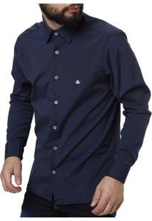 Camisa Manga Longa Masculina Azul Marinho - Masculino-Marinho