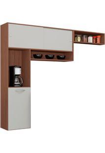 Cozinha Compacta Suspensa Thais Capuccino/Off White - Poquema