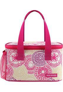Bolsa Térmica Mandala- Pink & Branca- 13X21,5X13Cm